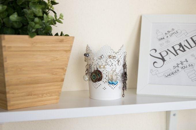 ohrringe aufbewahren im teelichthalter miss konfetti. Black Bedroom Furniture Sets. Home Design Ideas