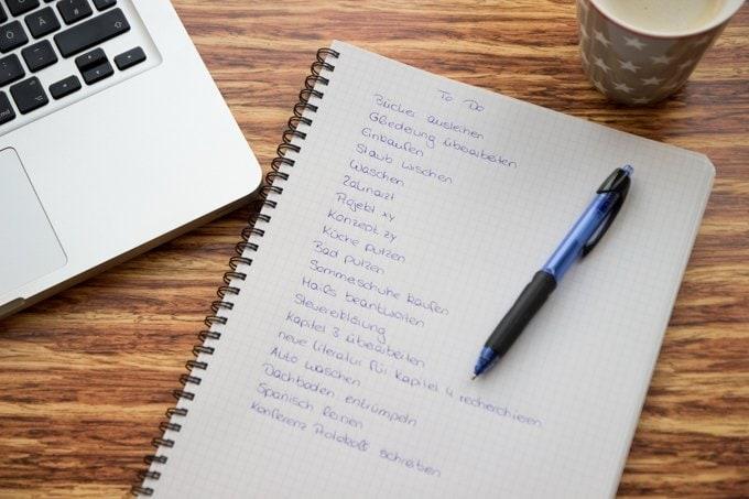 Tipps für besseres Zeitmanagement, To Do Liste schreiben
