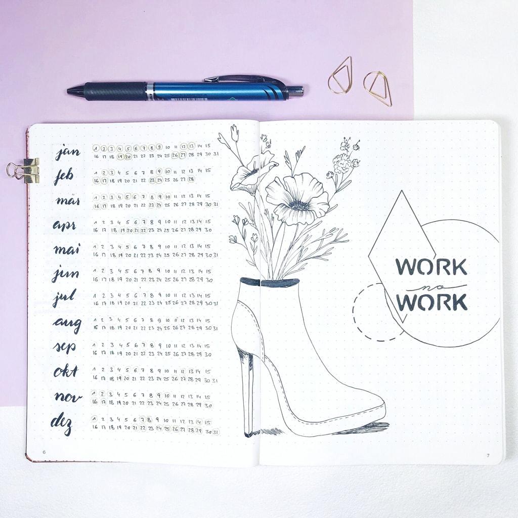 Arbeitsübersicht im Bullet Journal