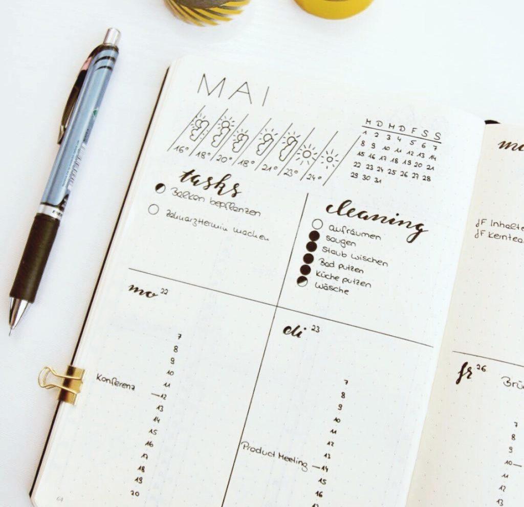 Bullet Journal Layout: Aufgaben und Termine