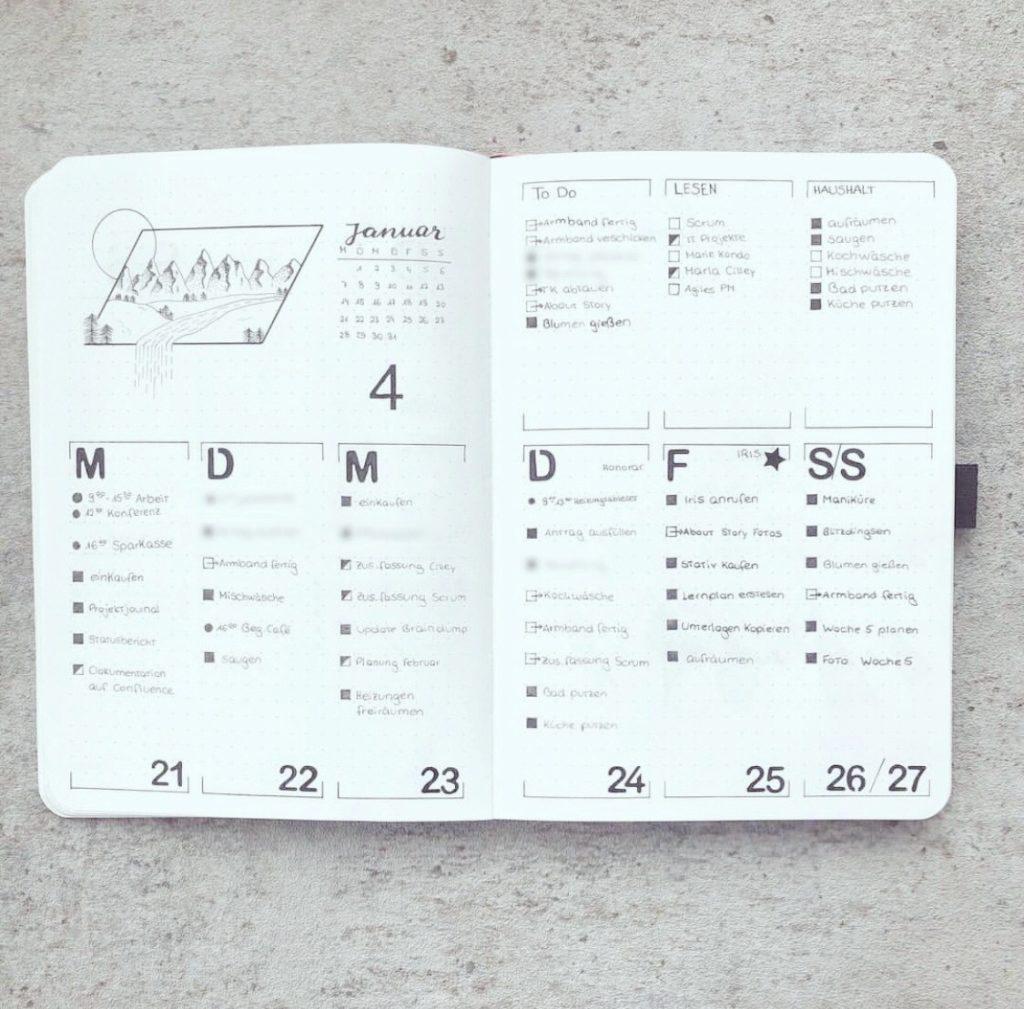 Wochenplan im Bullet Journal