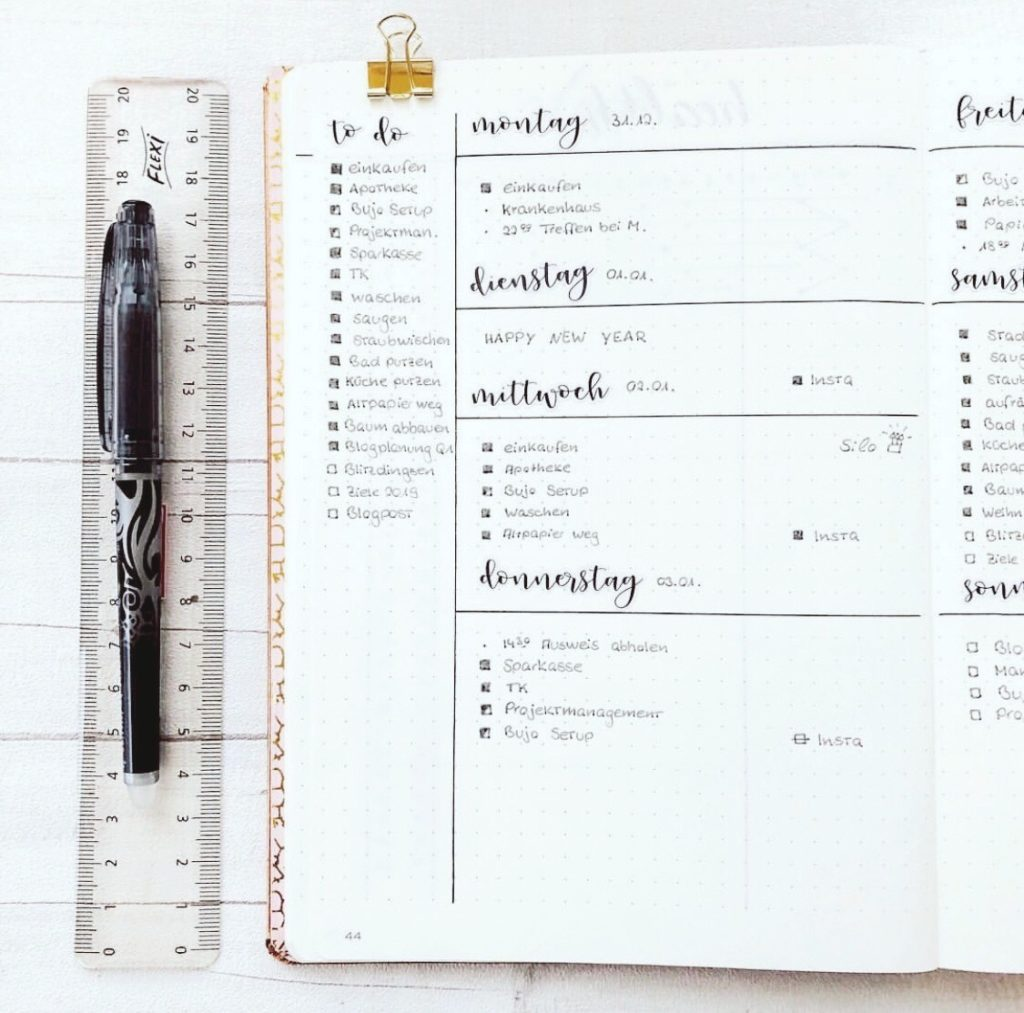 To Do und Termine im Bullet Journal