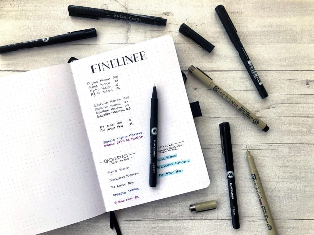 Fineliner das wichtigste Material für das Bullet Journal
