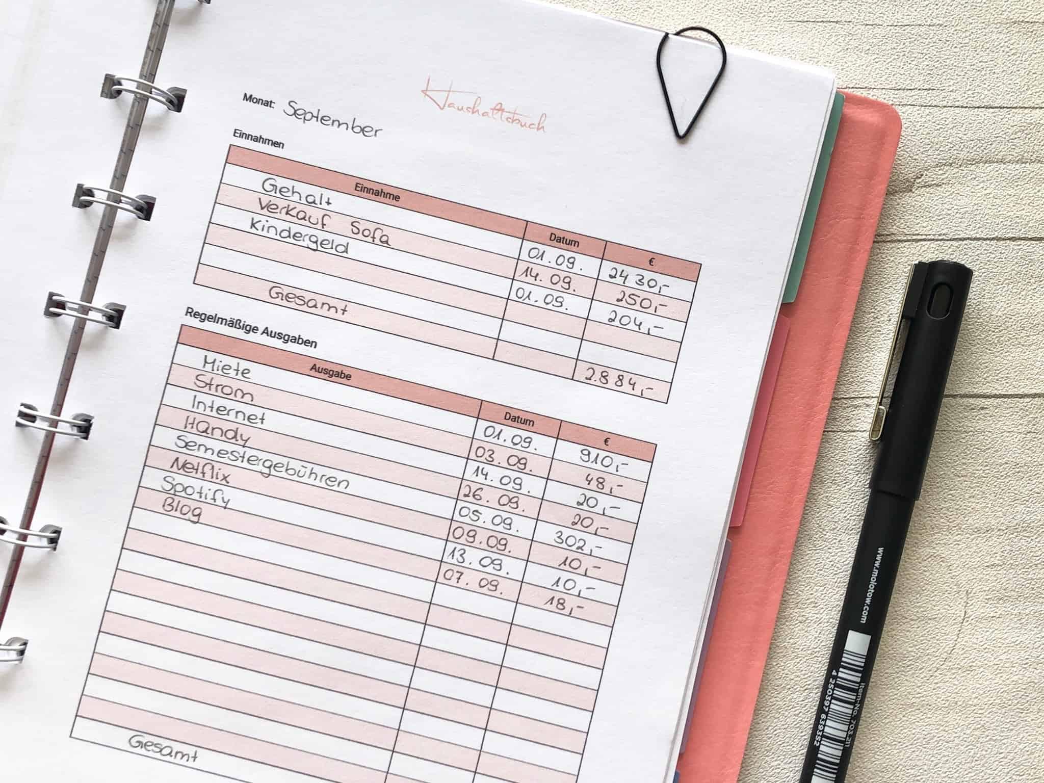 Übersichtsseite Haushaltsbuch