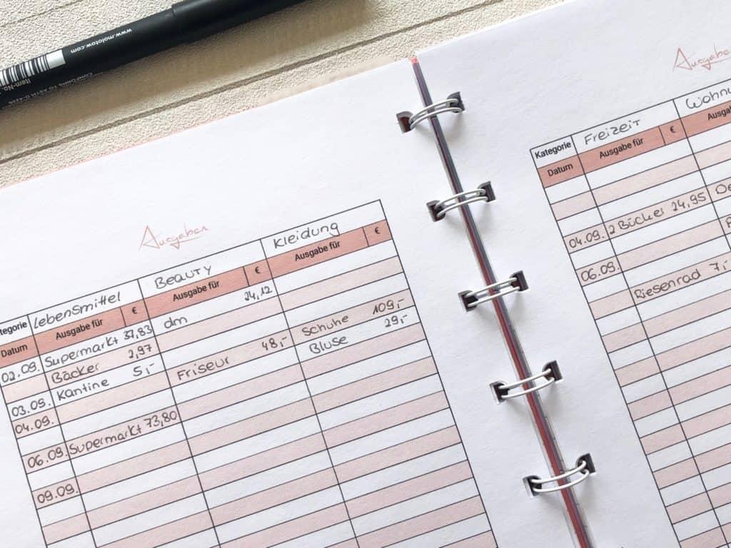 Haushaltsbuch Vorlage für die Ausgaben