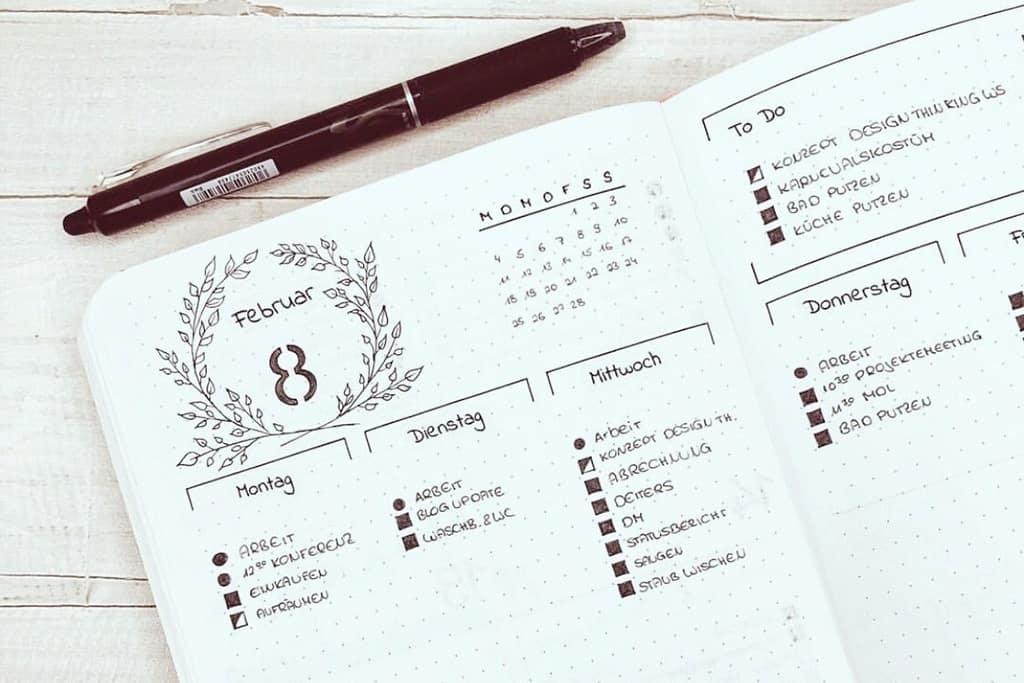 Putzplan im Bullet Journal integriert in den Wochenplan